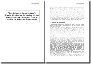 Les liaisons dangereuses, Pierre Choderlos de Laclos et son adaptation par Stephen Frears - le rôle de Mme de Rosemonde