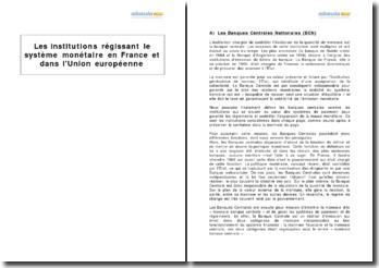 Les institutions régissant le système monétaire en France et dans l'Union européenne