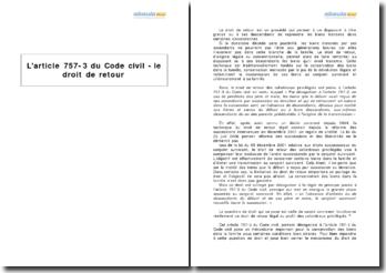 L'article 757-3 du Code civil - le droit de retour