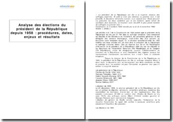 Analyse des élections du président de la République depuis 1958 : procédures, dates, enjeux et résultats
