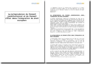 La jurisprudence du Conseil constitutionnel et du Conseil d'État dans l'intégration du droit européen
