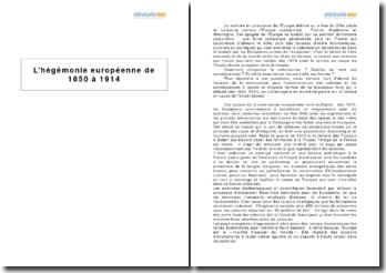L'hégémonie européenne de 1850 à 1914
