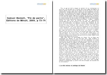 Samuel Beckett, Fin de partie, Editions de Minuit, 2009, p 73-74