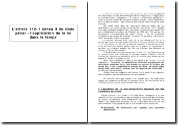 L'article 112-1 alinéa 3 du Code pénal - l'application de la loi dans le temps