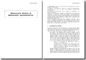 La démocratie directe, représentative et contemporaine (2010) - partage des pouvoirs, représentativité et réalité