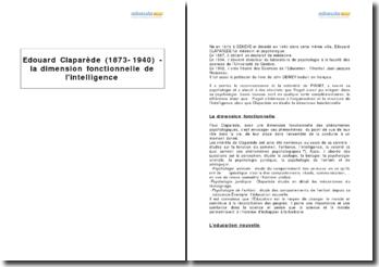 Edouard Claparède (1873-1940) - la dimension fonctionnelle de l'intelligence