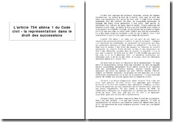 L'article 754 aliéna 1 du Code civil - la représentation dans le droit des successions