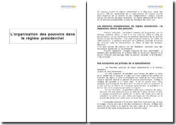 L'organisation des pouvoirs dans le régime présidentiel