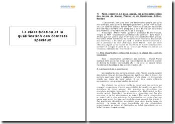 La classification et la qualification des contrats spéciaux