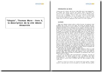 Utopia, Thomas More - livre II, la description de la cité idéale Amaurote