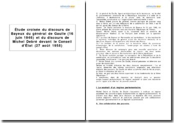 Étude croisée du discours de Bayeux du général de Gaulle (16 juin 1946) et du discours de Michel Debré devant le Conseil d'État (27 août 1958)