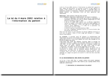 La loi du 4 mars 2002 relative à l'information du patient