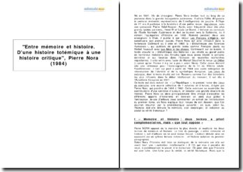 Entre mémoire et histoire. D'une histoire totémique à une histoire critique, Pierre Nora (1984)