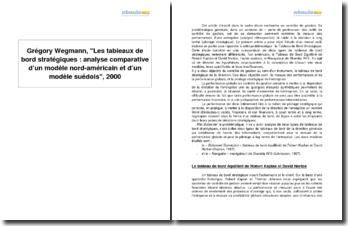 Grégory Wegmann, Les tableaux de bord stratégiques : analyse comparative d'un modèle nord-américain et d'un modèle suédois, 2000