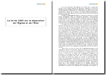 La loi de 1905 sur laséparation de l'Église et de l'État