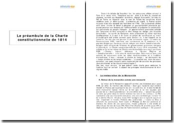 Le préambule de la Charte constitutionnelle de 1814