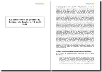 La conférence de presse du Général de Gaulle le 11 avril 1961
