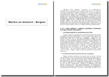 Matière en mémoire, Bergson