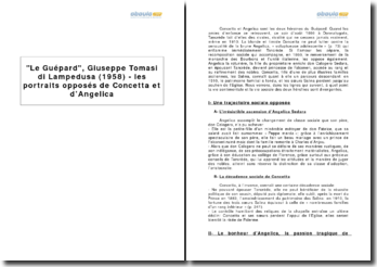 Le Guépard, Giuseppe Tomasi di Lampedusa (1958) - les portraits opposés de Concetta et d'Angelica