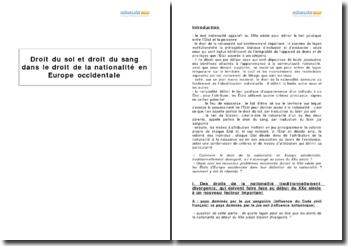 Droit du sol et droit du sang dans le droit de la nationalité en Europe occidentale