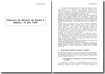 Discours du Général de Gaulle à Bayeux, 16 juin 1946