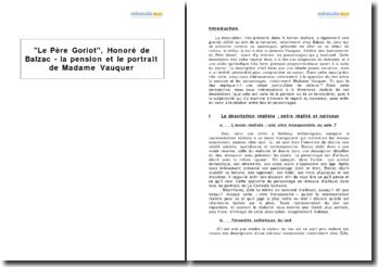 Le Père Goriot, Honoré de Balzac - la pension et le portrait de Madame Vauquer