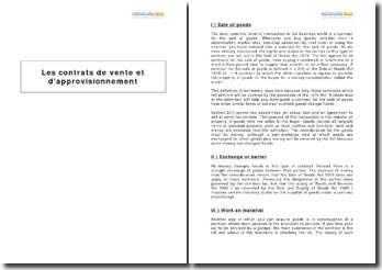 Les contrats de vente et d'approvisionnement