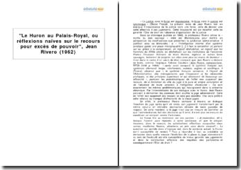 Le Huron au Palais-Royal, ou réflexions naïves sur le recours pour excès de pouvoir, Jean Rivero (1962)