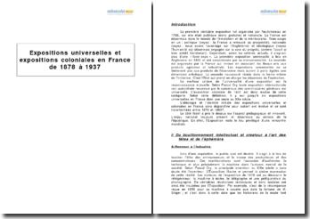 Expositions universelles et expositions coloniales en France de 1878 à 1937