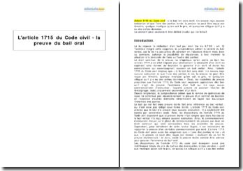 L'article 1715 du Code civil - la preuve du bail oral