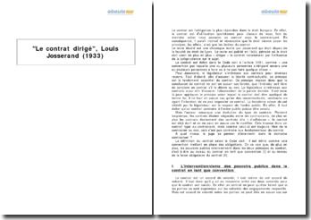 Le contrat dirigé, Louis Josserand (1933)