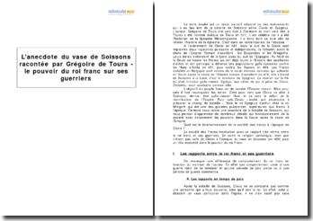 L'anecdote du vase de Soissons racontée par Grégoire de Tours - le pouvoir du roi franc sur ses guerriers
