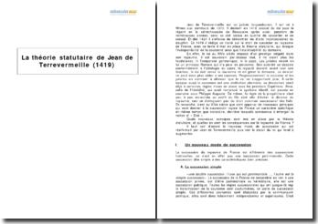 La théorie statutaire de Jean de Terrevermeille (1419)