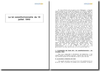 La loi constitutionnelle du 10 juillet 1940 - ambiguïté et echec du gouvernement de Vichy