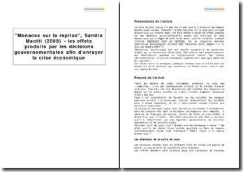 Menaces sur la reprise, Sandra Maotti (2009) - les effets produits par les décisions gouvernementales afin d'enrayer la crise économique