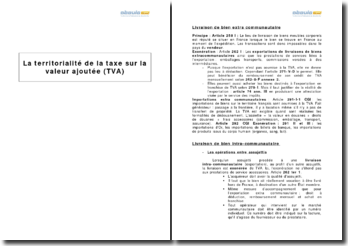 La territorialité de la taxe sur la valeur ajoutée (TVA)