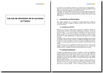 Les lois de dévolution de la couronne en France