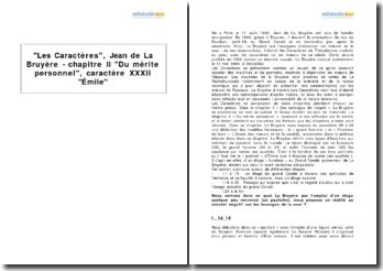 Les Caractères, Jean de La Bruyère - chapitre II Du mérite personnel, caractère XXXII Émile