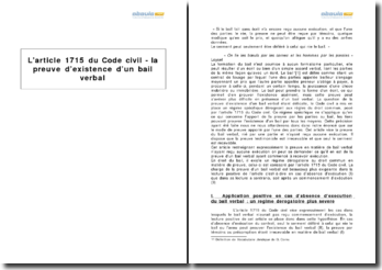 L'article 1715 du Code civil - la preuve d'existence d'un bail verbal