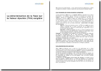 La détermination de la Taxe sur la Valeur Ajoutée (TVA) exigible