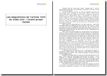 Les dispositions de l'article 1354 du Code civil - l'avant-projet Catala