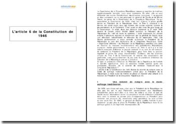 L'article 6 de la Constitution de 1946