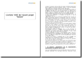 L'article 1342 de l'avant-projet Catala