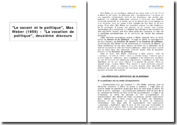 Le savant et le politique, Max Weber (1959) - La vocation de politique, deuxième discours