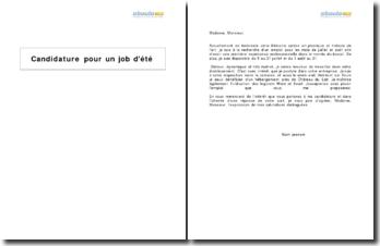 Candidature pour un job d'été