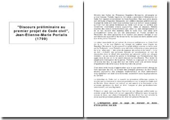 Discours préliminaire au premier projet de Code civil, Jean-Étienne-Marie Portalis (1799)