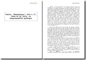 Platon, République, livre I, 17, 345d et 18, 347a - la responsabilité politique