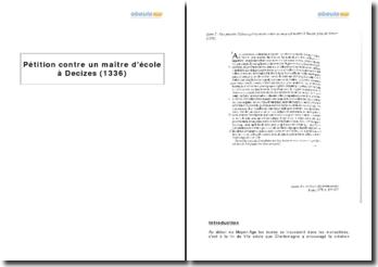 Pétition contre un maître d'école à Decizes (1336)