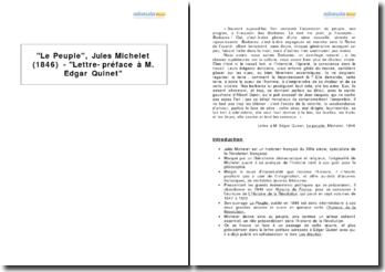 Le Peuple, Jules Michelet (1846) - Lettre-préface à M. Edgar Quinet