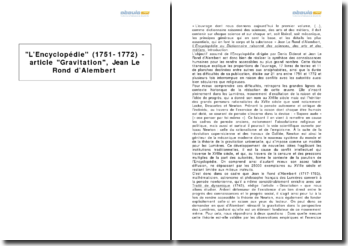L'Encyclopédie (1751-1772) - article Gravitation, Jean Le Rond d'Alembert